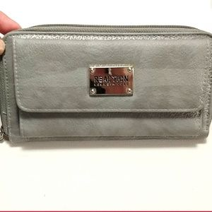 Reaction Kenneth Cole gray wallet pink inside